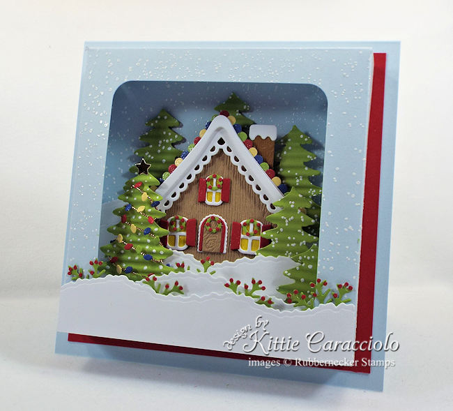 Come see how I made this gingerbread house shadow box card.