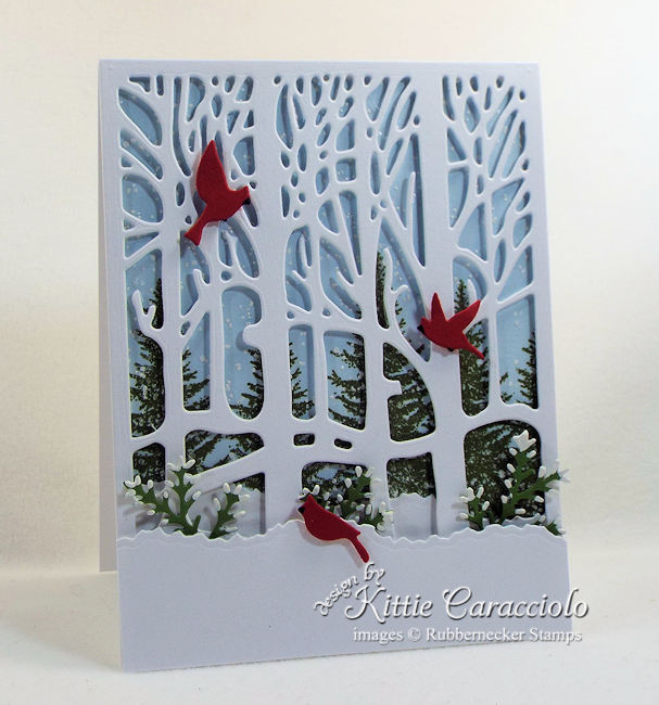 Come see how I made this pretty winter tree scene card.