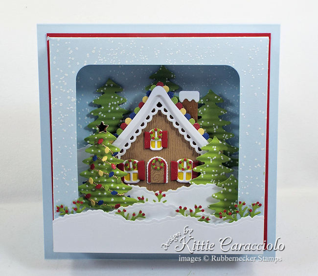 Come see how I made this wintry gingerbread house shadow box card.