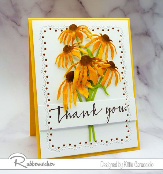 There's no such thing as too many flower cards handmade by us Rubbernecker fans - come see the new goodies I used on this beauty!