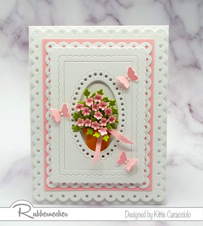 Layered frames are perfect to hightlight a small focal image.  Click on the picture to come over and see how I made this lovely card.