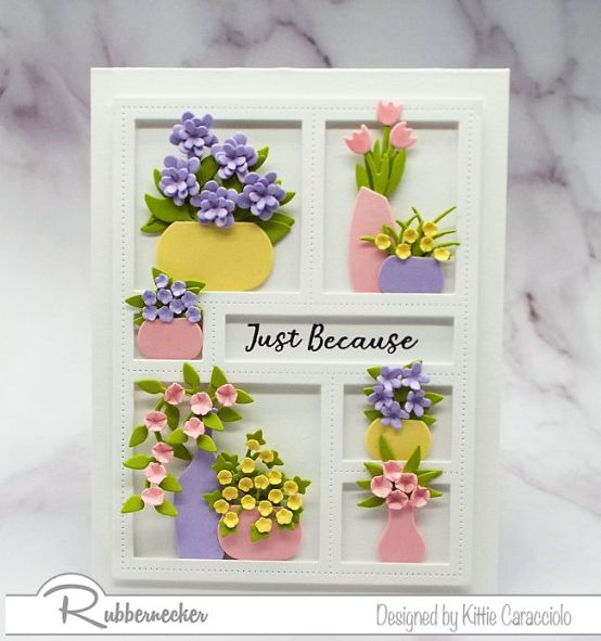 It is fun to decorate a window frame die with lots of vases and flowers.  Click thru to come over to my blog and check out how I made this pretty card.