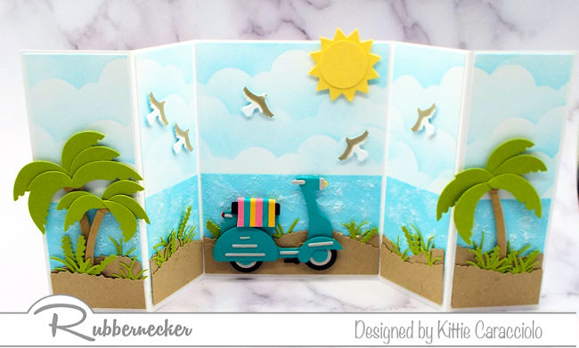 Make some beach scene greeting cards to help your friends get excited about the coming sunny days!