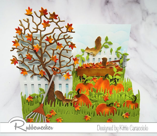 It is so much fun to create a dimensional scene like this fall side step card.  Click on the picture to see how I made this card.