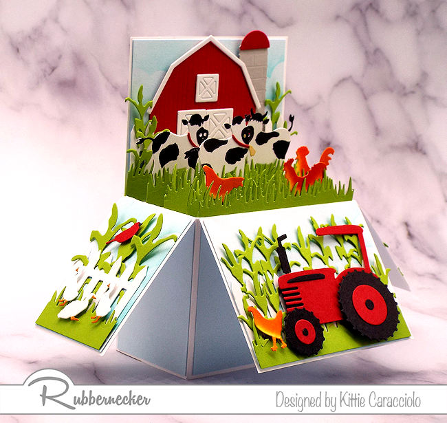 I pulled out all the farm themed dies that I had to create this 3Dl farm pop up box card.  All dies are made by Rubbernecker.