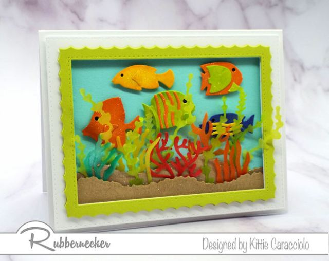 This under the sea card with its brightly colored fish and translucent seaweed and coral is perfect for someone who loves snorkeling.