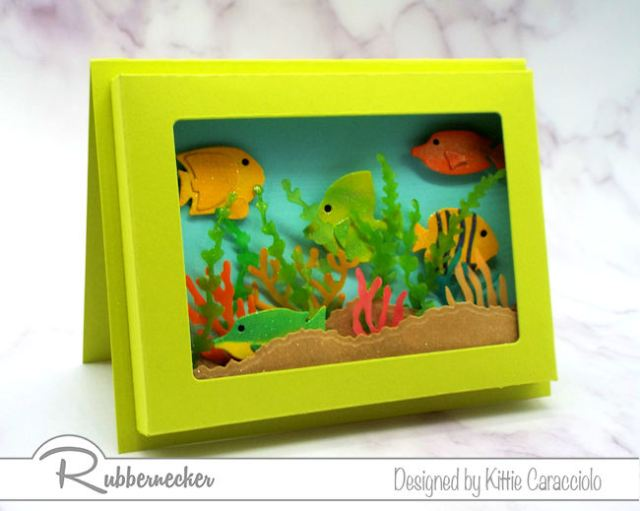 Check out the details for this paper shadow box card that looks like a mini fish tank!