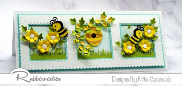 Making this slimline honey bee card and filling each frame with a mini bee themed scene was so much fun.