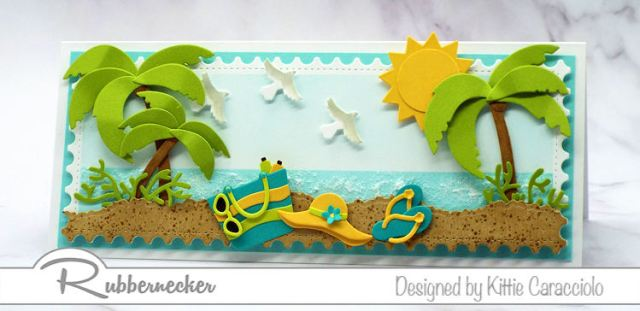 This slimline summer card is loaded with paper pieced details using cardmaking dies