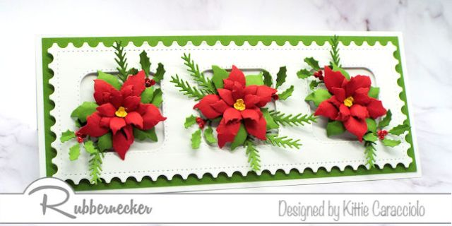 A Slimline Poinsettia Card for Christmas in July - click through to learn more!