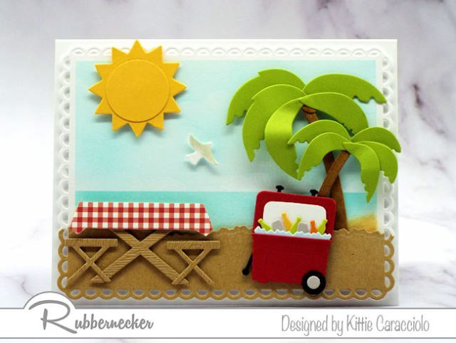 I love this beach picnic card because I can almost smell the sea, feel the sand and hear the clink of those soda bottles - click through to see how easy this is to make!