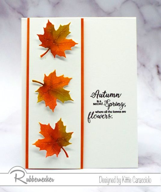 inking techniques were used to create these vibrant fall leaves on this simple handmade card