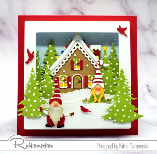 This Gnome Shadow Box Card featuring a snowy scene in a shadow box was created entirely from die cuts