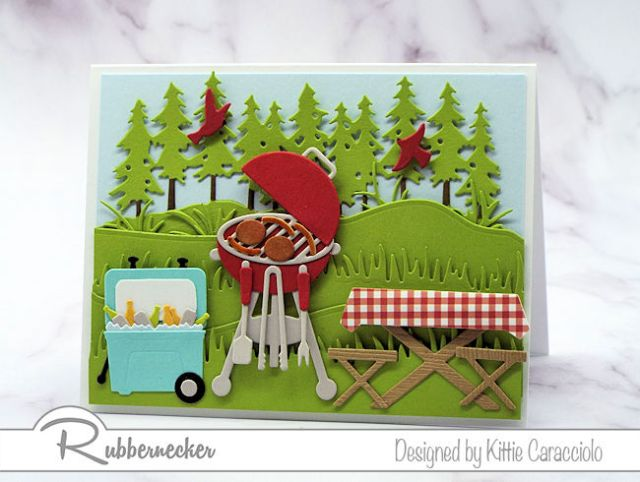 This BBQ card is loaded with paper pieced details using cardmaking dies