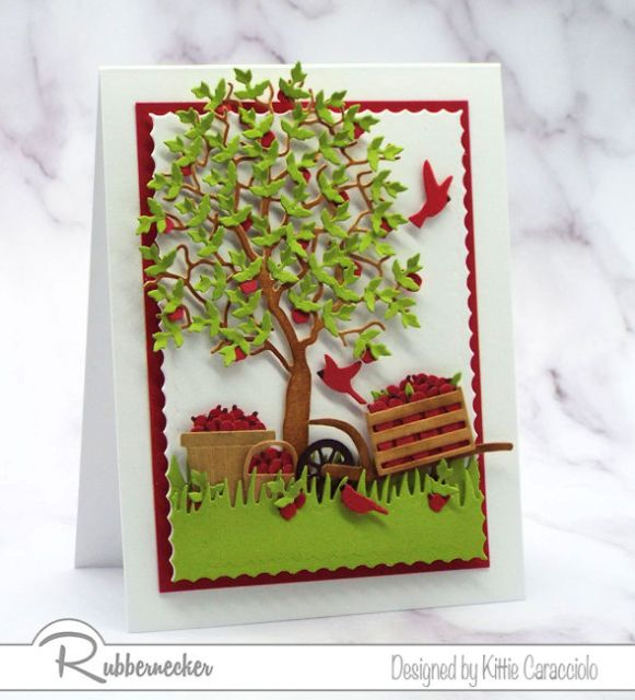 A handmade greeting card showing how a leaf die cut used multiple times can create a paper apple tree as a focal image