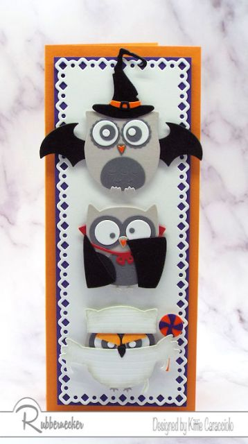 An example of cute Halloween cards made using owl die cuts and additional die cuts to create tiny adorable owl costumes!