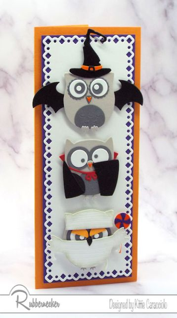 Super cute Halloween cards made with owl die cuts and additional die cuts to create three different adorable owl Halloween costumes