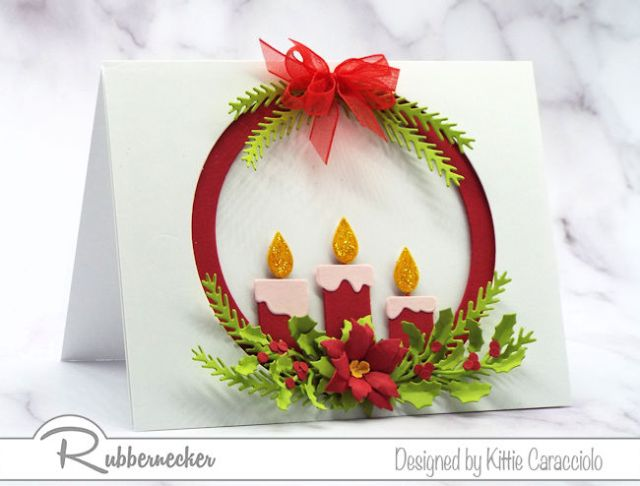 Learn to make your own Christmas cards using this die cut candle arrangement with greenery and fine details from Rubbernecker