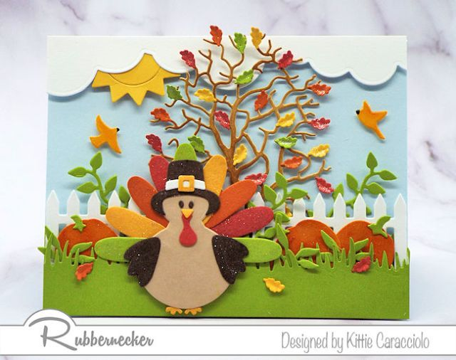 A cute paper turkey made from die cuts wearing a pilgrim hat on thanksgiving cards to make and send this year