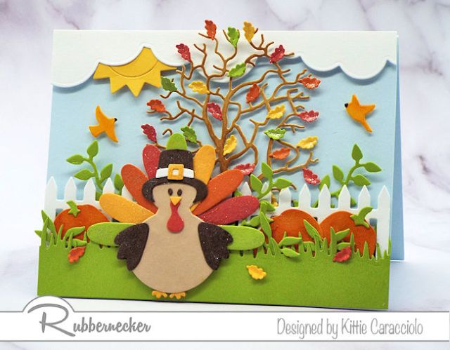 an example of thanksgiving cards to make with a die cut turkey and fall tree