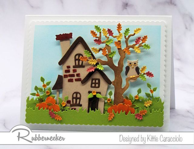 I love making fall cards with a tree with colorful fall leaves and pumpkins around its base.