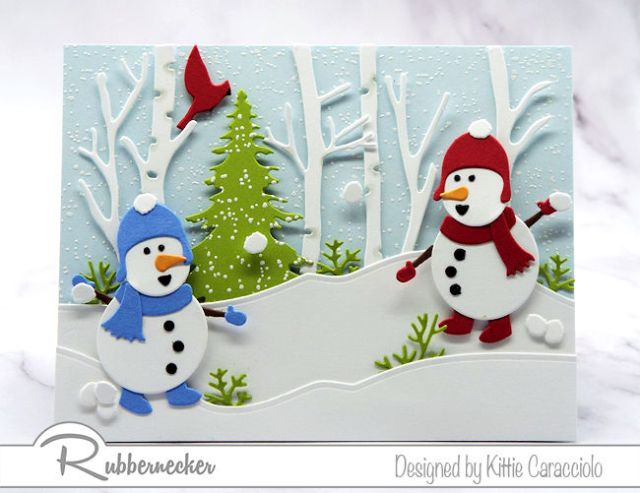 Two die cut snowmen having a snowball fight  featured on one of my snowman card ideas
