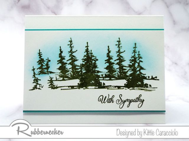 Handmade sympathy cards like this simple one with a gently background and evergreens is a lovely way to express your sentiments