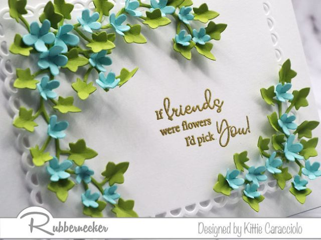 Come see how I added tiny flowers and ivy to highlight one of the friend sentiments form the Rubbernecker Kittie Says Friend set.