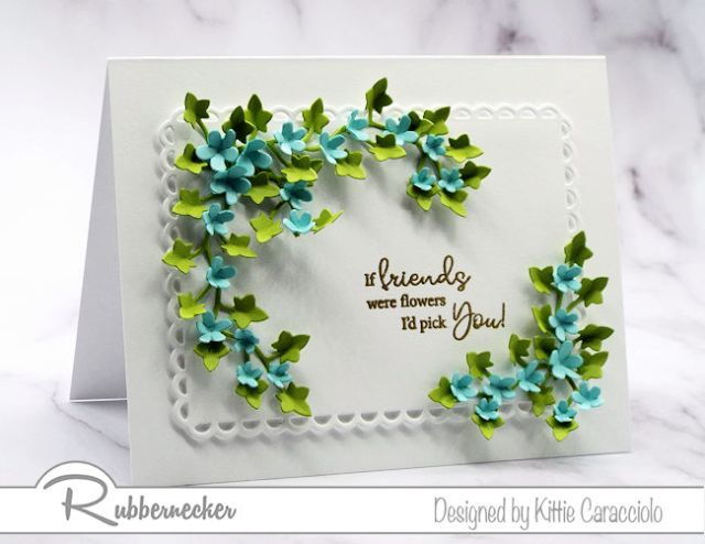 The pretty floral arrangement on this card highlights one of the friend sentiments from the Rubbernecker Kittie Says Friends clear set.