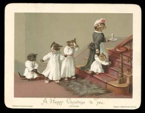 Victorian-Cat-Xmas-Card-Anthropomorphic-Kittens-Going-Up-To-Bed.2