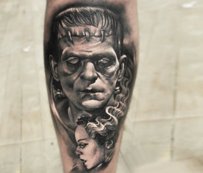 Grey-Ink-3D-Frankenstein-With-Girl-Face-Tattoo-Design-For-Sleeve-By-Sergey-Shanko