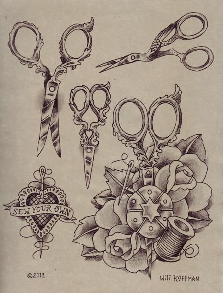will_koffman_traditional_victorian_crafty_vintage_scissors_tattoo_flash_net