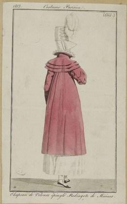 1813 Bonnet of untrimmed velvet, Redingote of Merino