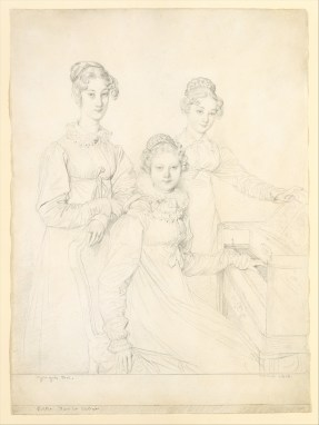 The Kaunitz Sisters (Leopoldine, Caroline, and Ferdinandine), graphite on laid paper by Jean Auguste Dominique Ingres, 1818. Metropolitan Museum of Art, 1998.21