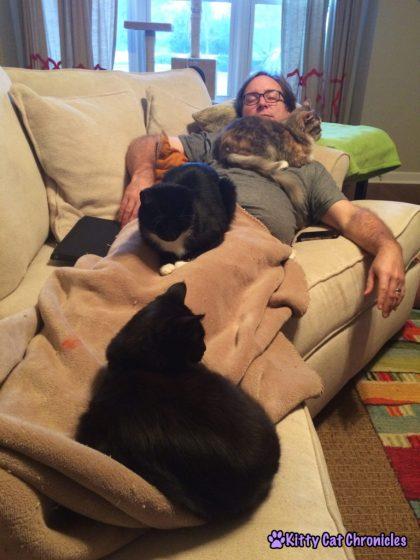 Kylo, Sampson, Sophie, & Dad Snuggling