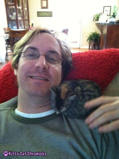 Flashback Friday: Once a Shoulder Kitty, Always a Shoulder Kitty - Delilah Kitten with Dad