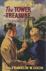 """Den första boken om bröderna Hardy """"The Tower treasure""""."""