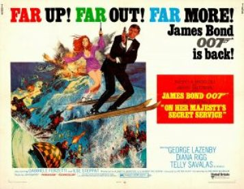 "En poster för filmen ""On Her Majesty's Secret Service"" med George Lazenby som James Bond."
