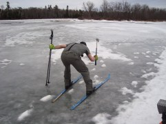 Checking the ice for thickness