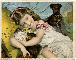Girl, dog & cats