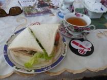A spot of tea and a fresh sandwich at a British tea room.