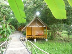 Our bungalow, made of bamboo