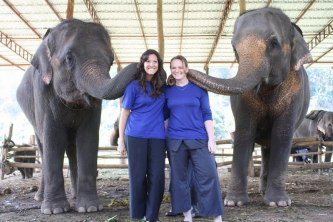 Mandy and I with the elephants