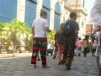 Traveller boys wearing ridiculous pants - they didn't dress properly for the temple so they had to buy these at the entrance