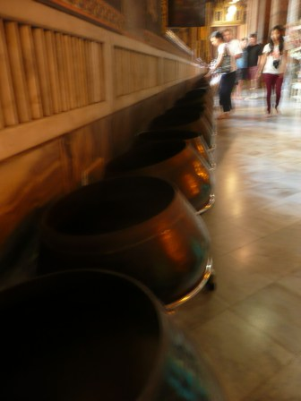Not the best photo, but the only one I got of the line of bowls. You drop one coin into each.