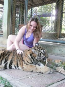 Mandy with the young tiger