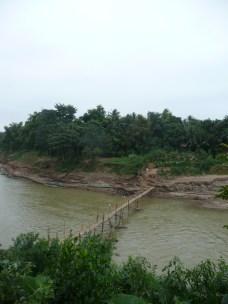 Rickety bridge crossing the river