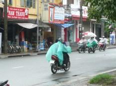 Poncho covered motorbike