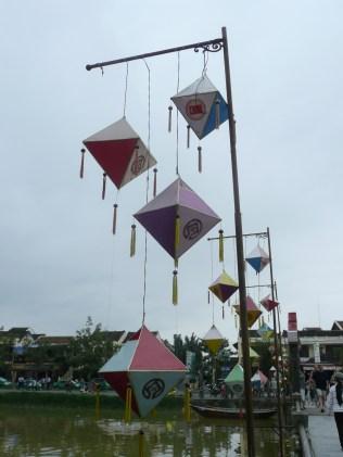 Lanterns hanging along the bridge
