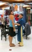 Taking my measurements - I'll wear the dress in Australia.